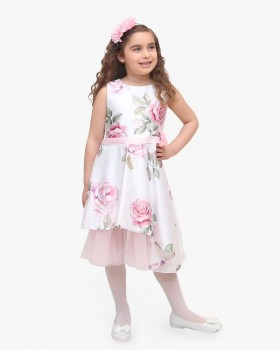 Vestito Ragazza Enylò in Fantasia Rose Rosa