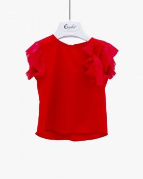 Blusa Neonata Enylò in Rosso con Rouches
