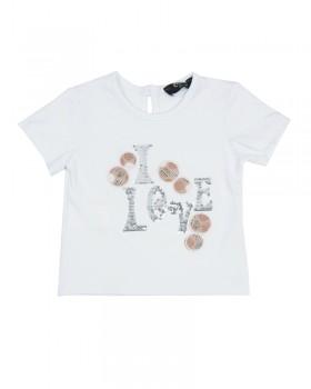 T-Shirt Neonato con Ricamo Paiette e Applicazione Tessuto