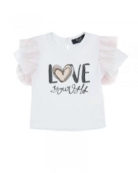 T-Shirt Neonata con Stampa e Applicazioni di Strass