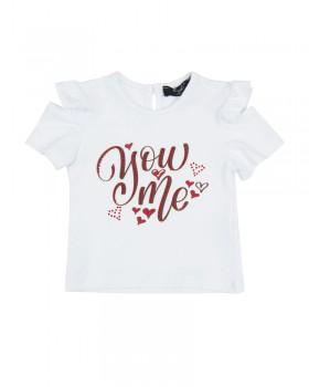 T-shirt Neonata enylò con Stampa e Maniche con Rouches