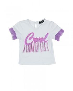 "T-shirt neonata Enylò con Ricamo Paiette ""Cool"""