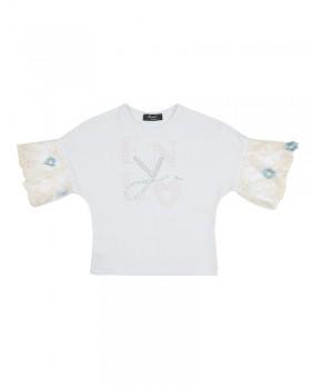 T-shirt Baby Enylò con Maniche a Palloncino in Tulle Ricamato