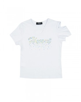 T-shirt Ragazza Enylò con Strass Multicolor
