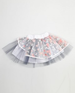 Gonna A Balze Tulle Ricamato E Tulle Sotto Colorato
