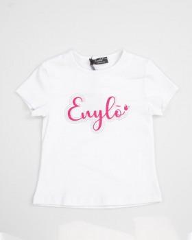 T Shirt Baby Con Stampa Enylo In Glitter Fuxia E Applicazione Strass
