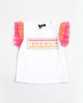 T Shirt Con Stampa E Roush Maniche Di Tulle Bicolore Enylò