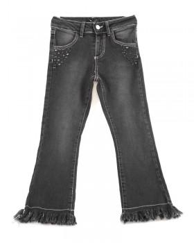 Pantalone Ragazza Jeans Nero Sfranciato E Appl. Borchie