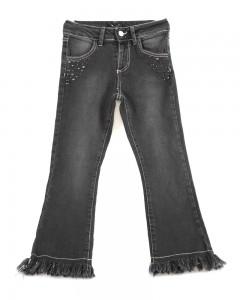 Pantalone Ragazza Jeans Nero Sfranciato E Appl. Borchie Enylò