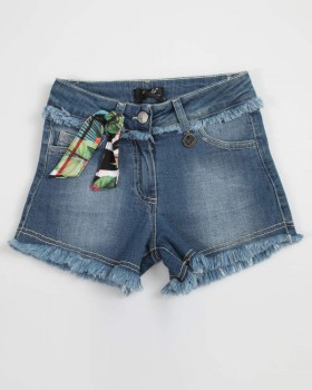 Short Ragazza Jeans Blu Sfranciato Con Fular Enylò