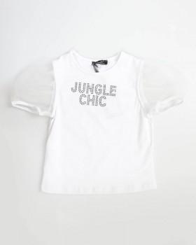T-Shirt Con Appl. Strass E Maniche Sbuffo Di Organza Enylò